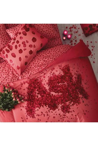 Taç Aşk Çift Kişilik Ranforce Nevresim Takımı Kırmızı