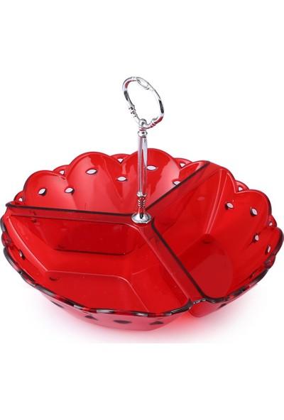 EW's Kitchenware Kitchenware Akrilik Delikli 3Lü Çerezlik Kırmızı