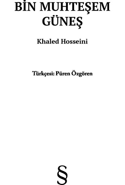 Bin Muhteşem Güneş (Midi Boy) - Khaled Hosseini