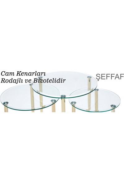 Ku-Cam Deluxe Yuvarlak Şeffaf Mavi Cam Zigon Yan Sehpa Gold Serisi