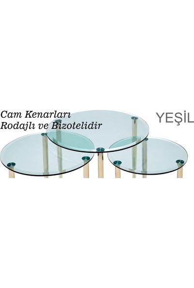 Ku-Cam Deluxe Yuvarlak Yeşil Cam Zigon Yan Sehpa Gold Serisi