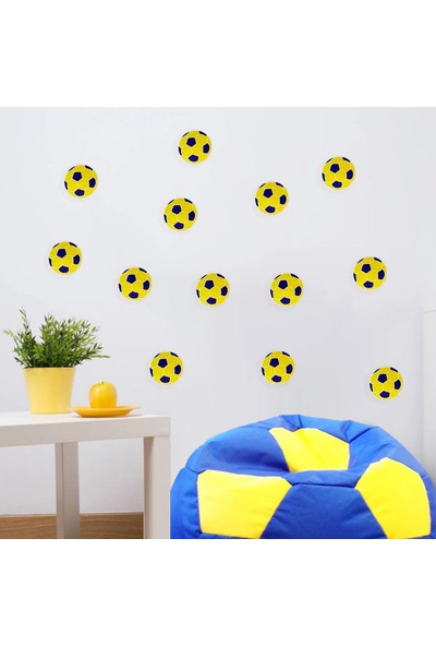 Decolight Sarı Lacivert Futbol Topu Sticker