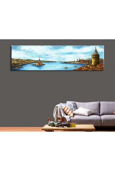 Tablo Art House Panoramik Yağlıboya İstanbul Kanvas Tablo 50x110