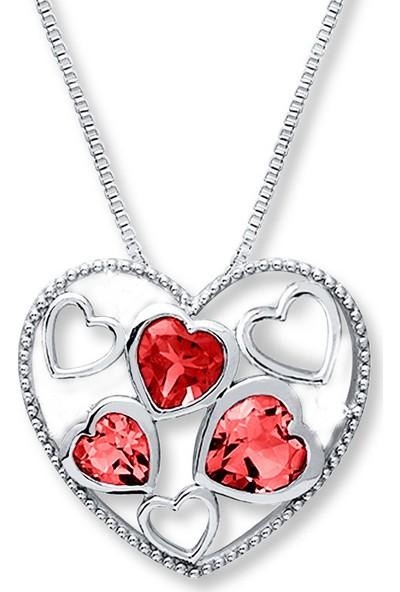Sare Pırlanta Kırmızı Taş Gümüş Kalp Kolye