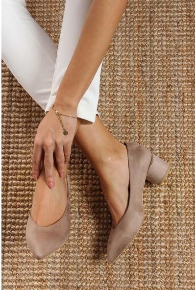 Shoes Time Kadın Topuklu Ayakkabı Bej 17K 1954