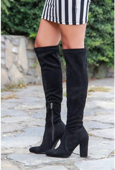 Shoes Time Kadın Topuklu Çizme Siyah 17K 708