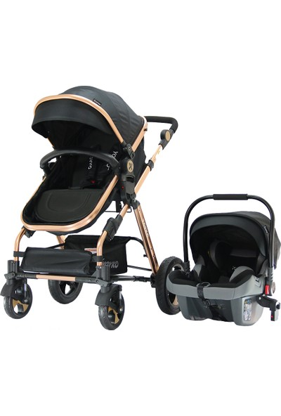 Yoyko Luxury Seyahat Sistem Bebek Arabası 3 İn 1 Siyah - Rose