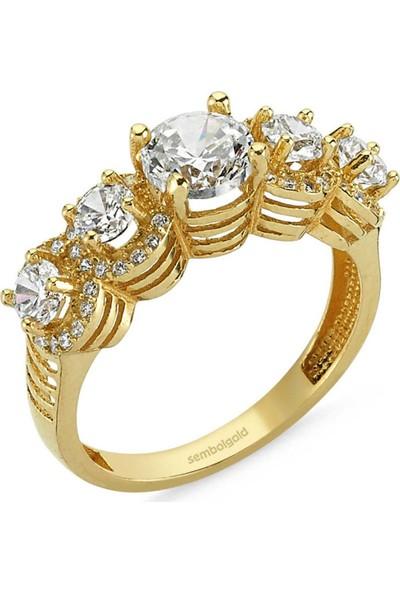 Sembolgold Altın 5 Taş Yüzük Zirkon Taşlı Sg42-783449