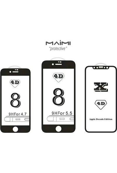 Maimi Apple iPhone 6 - 6S 4D Temperli Koruma Camı Beyaz