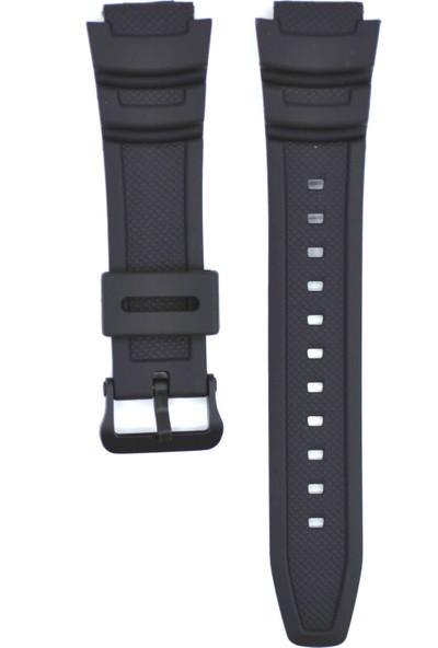 Ztd Strap Casio Uyumlu Aqw-100 18Mm Siyah Silikon Saat Kordonu Cas132