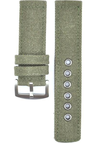 Ztd Strap 24Mm Yeşil Tekstil Kumaş Saat Kordonu Bms255