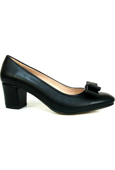 Zenay 1403 Siyah Fiyonklu Deri Topuklu Bayan Ayakkabı