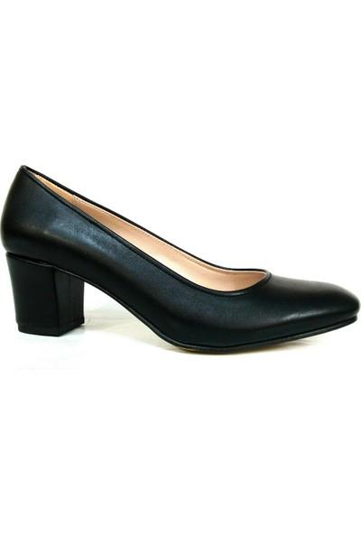 Zenay 1403 Siyah Deri Topuklu Bayan Ayakkabı