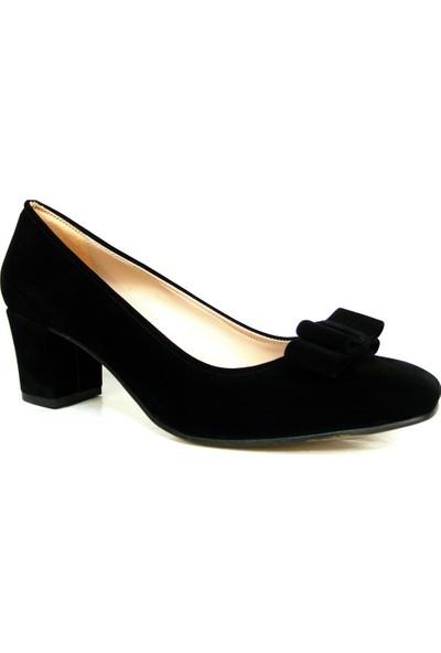 Zenay 1403 Siyah Fiyonklu Süet Nubuk Topuklu Bayan Ayakkabı