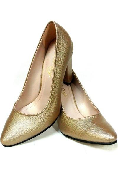Zenay 1535 Koyu Altın Deri Stiletto Bayan Ayakkabı