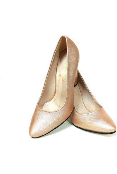 Zenay 1535 Pudra Deri Stiletto Bayan Ayakkabı