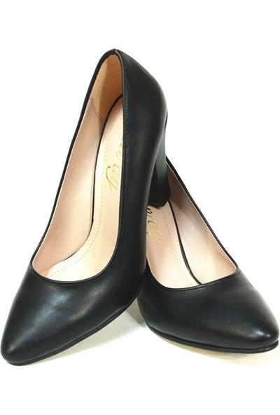 Zenay 1535 Siyah Deri Stiletto Bayan Ayakkabı