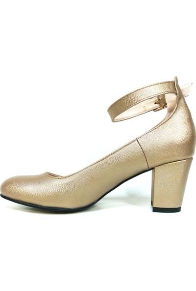 Zenay 1540 Koyu Altın Topuklu Bayan Ayakkabı