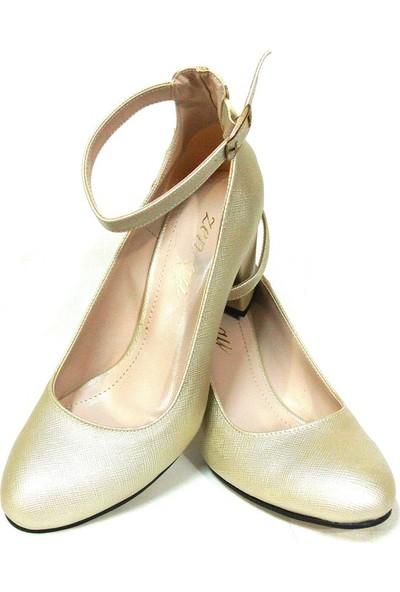Zenay 1540 Açık Altın Topuklu Bayan Ayakkabı