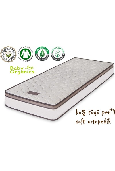 Heyner 70 X 110 Kuş Tüyü Ped'Li Soft Yaylı Yatak Organic 70 * 110 Organic Cotton Ped'Li Bebek Yatağı