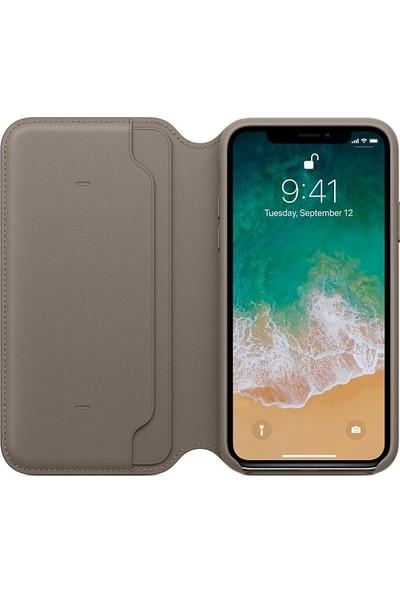 Apple iPhone X Deri Folio VizonGrisi MQRY2ZM/A (Apple Türkiye Garantili)