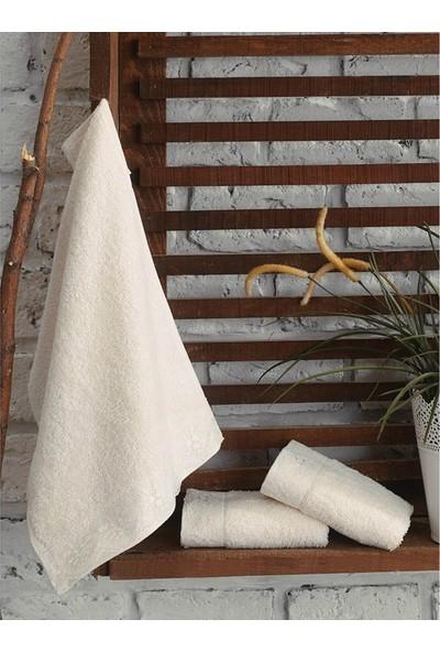 Cotton Box 3'lü Gipürlü Havlu Seti Krem