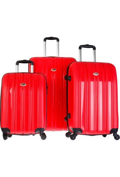 Tutqn %100 Yerli Safari Model Kırılmaz 3'Lü Valiz Seti Kırmızı