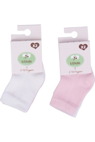 KitiKate Organik 2'li Bebe Çorap Beyaz Pembe