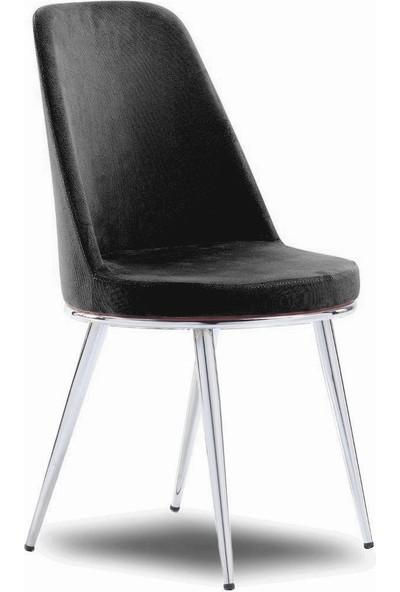 Mavievim Mutfak Sandalyesi (Kumaş) Sandalye Siyah