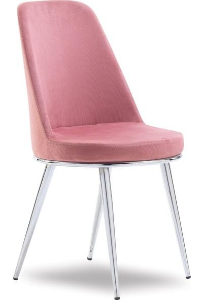 Mavievim Mutfak Sandalyesi (Kumaş) Sandalye Pudra Pembe