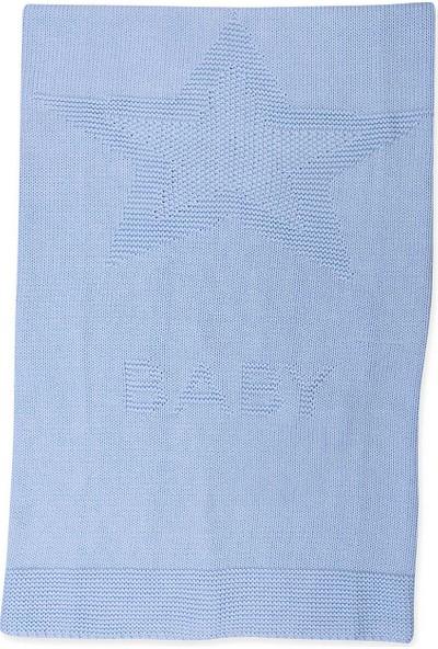 Kitikate Organik Bebek Triko Yıldız Battaniye Mavi