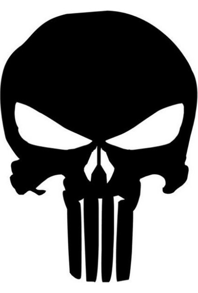 Solfera Punisher Marvel Siyah Otomobil Laptop Sticker Etiket Cs046