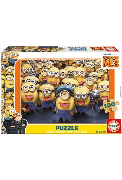 Educa Minions 3 Ahşap 100 Parça Puzzle (17233)