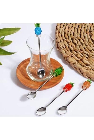 Kitchen World Metal 4'lü Çay kaşığı Ananas Çay-50