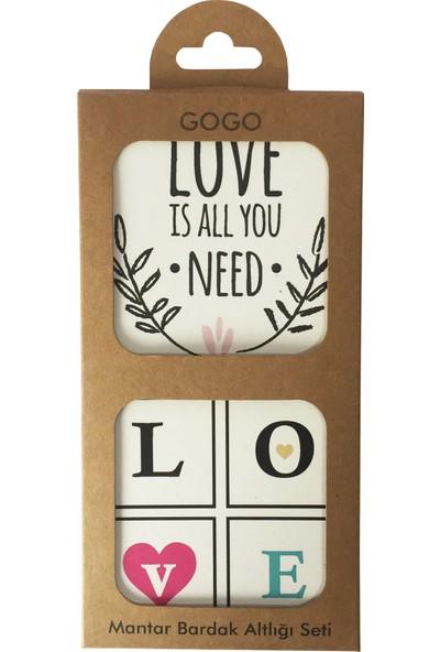 Gogo Love Is All You Need Bardak Altlığı Seti