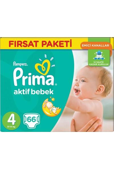 Prima Bebek Bezi Aktif Bebek Fırsat Paketi 4 Beden 66 Adet