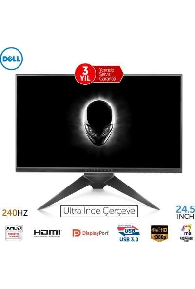"Dell Alienware AW2518HF 24.5"" 1ms 240hz (Display+HDMI) FreeSync Full HD Led Monitör"