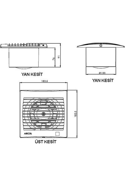 Aırcol Op 120 Lik Otomatik Panjurlu Banyo Fanı