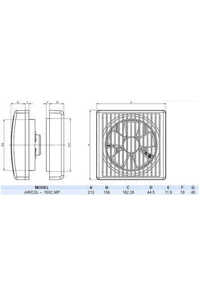 Aırcol 150C Mekanik Panjurlu Cam Ve Duvar Tipi Aspiratör
