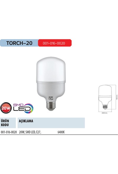 Horoz Torch-20 20 Watt 1500 Lumen 6400 Kelvın Beyaz Işık E-27 Silindir Tip Led Ampul 20W