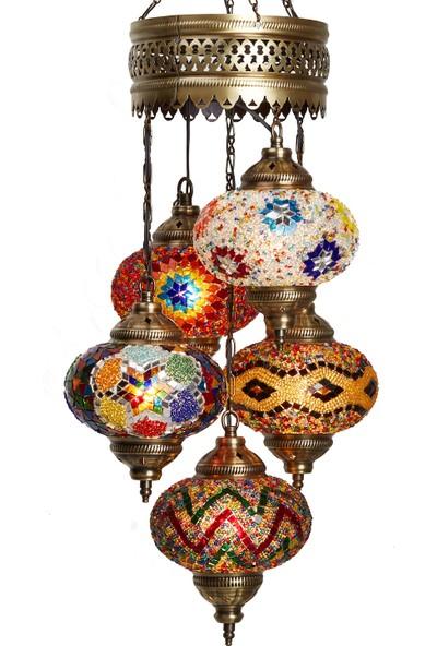 Otantik Tavan Sarkıt Avize Mozaik Dekor Lamba Gece Lambası 5'Li