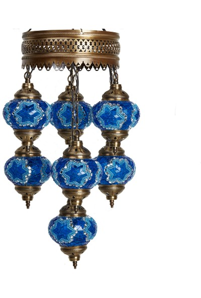 Otantik Tavan Sarkıt Avize Mozaik Dekor Lamba Gece Lambası 7'Li