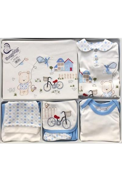 Nenny Baby Penye Bisikletli 10'lu Hastane Çıkışı Zıbın Seti Mavi