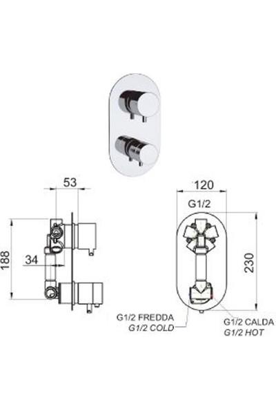 Remer Rubinetterie Minimal Termostatik Ankastre Banyo Bataryası, 5 Yollu Diverter ve Mikser