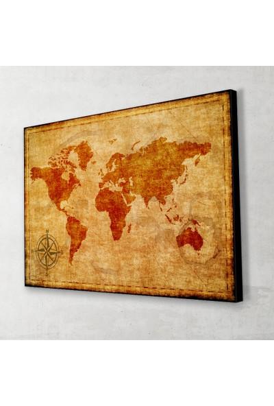 Vintage Dünya Haritası Yatay Kanvas Tablo 40x60 Cm.