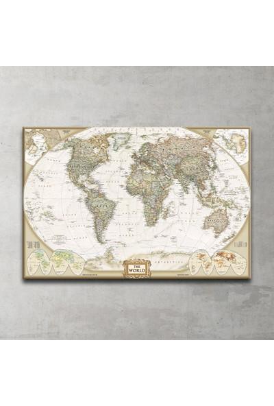National Geographic 2007 Dünya Haritası Kanvas Tablo 100x150 Cm.