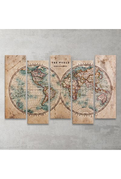 Vintage Dünya Haritası 5 Parça MDF Tablo 100x65 Cm.