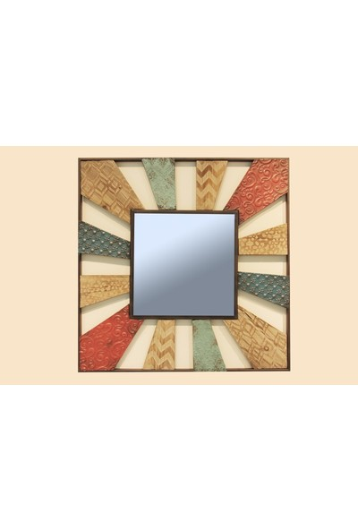 Fidex Home Dekoratıf Metal Ahşap Ayna