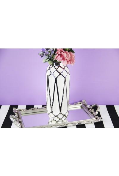 Fidex Home Geometrik Şekilli Gümüş Vazo