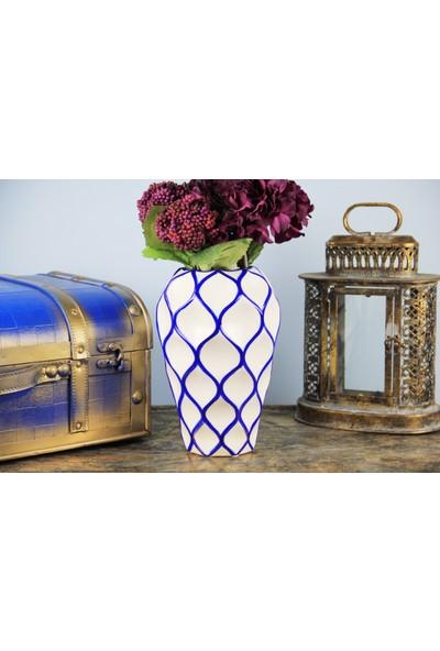 Fidex Home Geometrik Şekilli Cobalt Blue Vazo